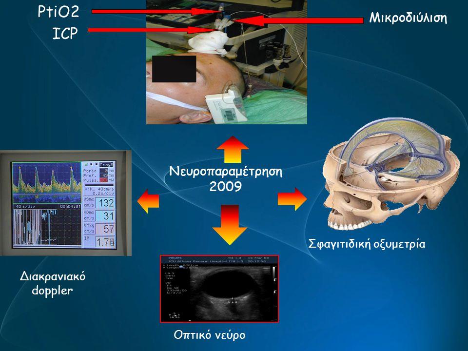 ICP PtiO2 Μικροδιύλιση Σφαγιτιδική οξυμετρία Οπτικό νεύρο Διακρανιακό doppler Νευροπαραμέτρηση 2009