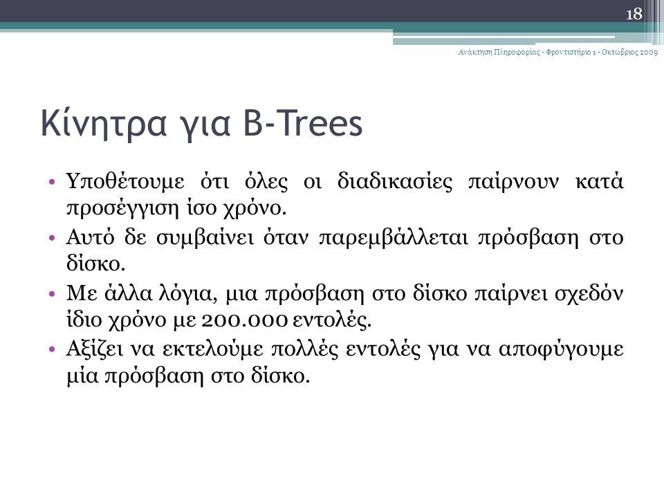 Κίνητρα για B-Trees Υποθέτουμε ότι όλες οι διαδικασίες παίρνουν κατά προσέγγιση ίσο χρόνο.