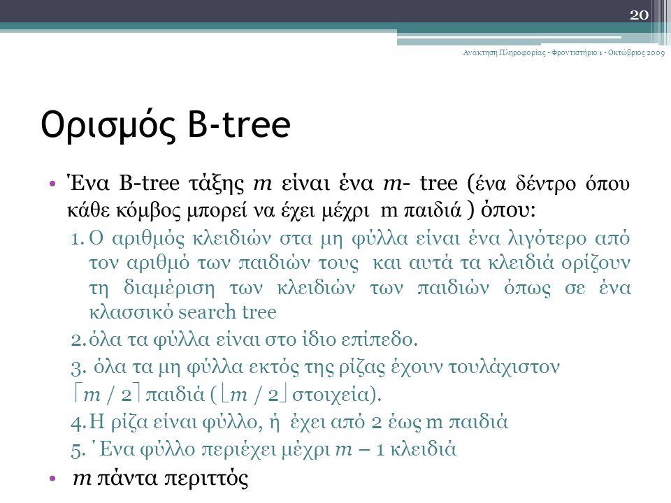 Ορισμός B-tree Ένα B-tree τάξης m είναι ένα m- tree ( ένα δέντρο όπου κάθε κόμβος μπορεί να έχει μέχρι m παιδιά ) όπου: 1.Ο αριθμός κλειδιών στα μη φύλλα είναι ένα λιγότερο από τον αριθμό των παιδιών τους και αυτά τα κλειδιά ορίζουν τη διαμέριση των κλειδιών των παιδιών όπως σε ένα κλασσικό search tree 2.όλα τα φύλλα είναι στο ίδιο επίπεδο.