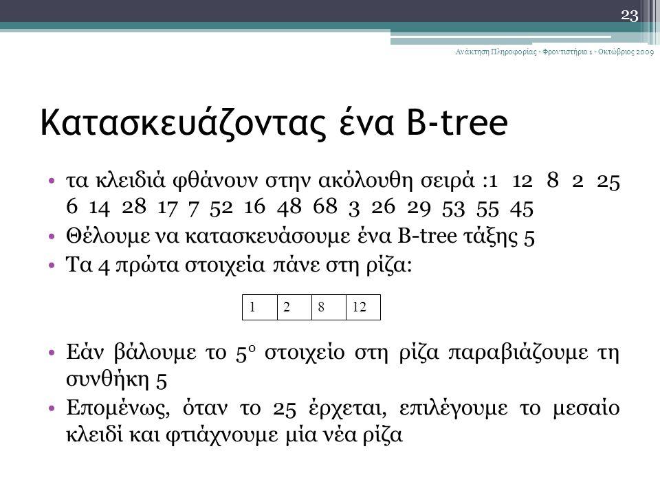 Κατασκευάζοντας ένα B-tree τα κλειδιά φθάνουν στην ακόλουθη σειρά :1 12 8 2 25 6 14 28 17 7 52 16 48 68 3 26 29 53 55 45 Θέλουμε να κατασκευάσουμε ένα B-tree τάξης 5 Τα 4 πρώτα στοιχεία πάνε στη ρίζα: Εάν βάλουμε το 5 ο στοιχείο στη ρίζα παραβιάζουμε τη συνθήκη 5 Επομένως, όταν το 25 έρχεται, επιλέγουμε το μεσαίο κλειδί και φτιάχνουμε μία νέα ρίζα 23 Ανάκτηση Πληροφορίας - Φροντιστήριο 1 - Οκτώβριος 2009 12812