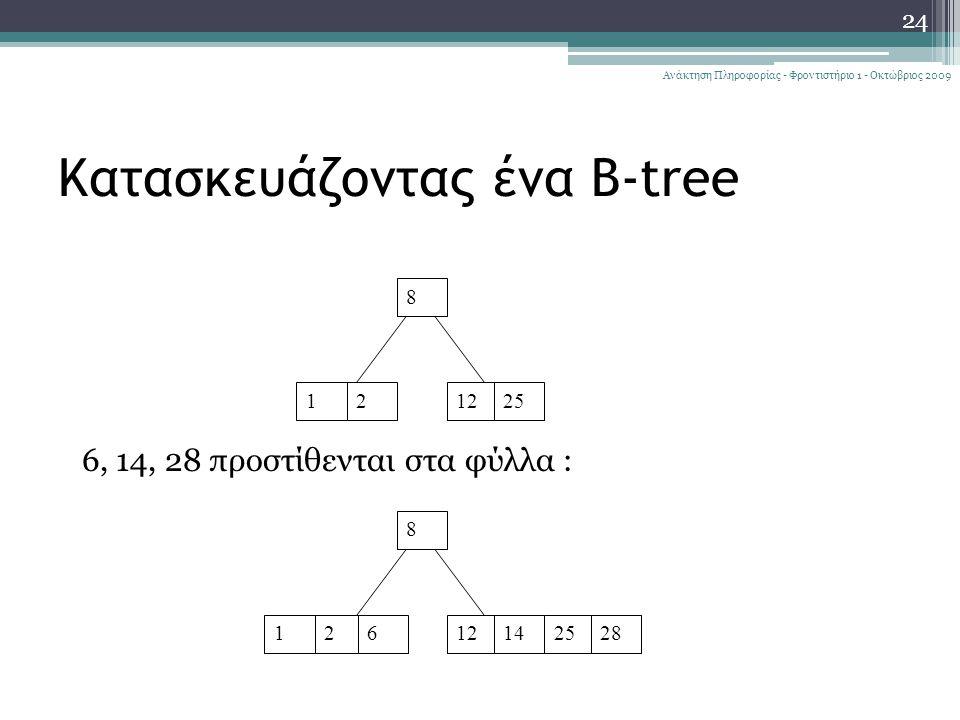 Κατασκευάζοντας ένα B-tree 24 Ανάκτηση Πληροφορίας - Φροντιστήριο 1 - Οκτώβριος 2009 12 8 1225 6, 14, 28 προστίθενται στα φύλλα : 12 8 121462528