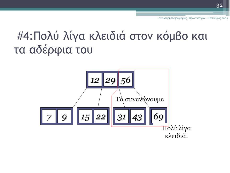 #4:Πολύ λίγα κλειδιά στον κόμβο και τα αδέρφια του 32 Ανάκτηση Πληροφορίας - Φροντιστήριο 1 - Οκτώβριος 2009 122956 79152269723143 Delete 72 Πολύ λίγα κλειδιά.