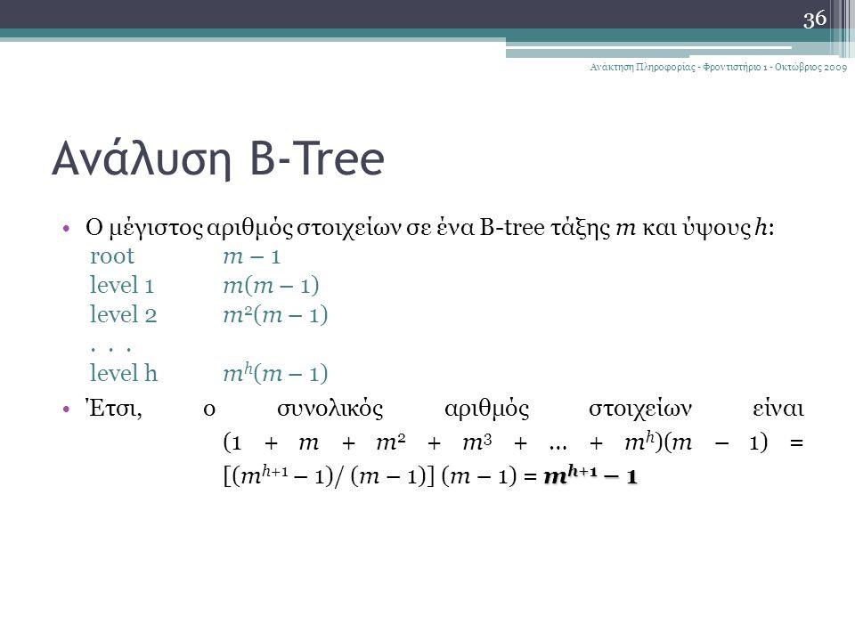 Ανάλυση B-Tree Ο μέγιστος αριθμός στοιχείων σε ένα B-tree τάξης m και ύψους h: rootm – 1 level 1m(m – 1) level 2m 2 (m – 1)...