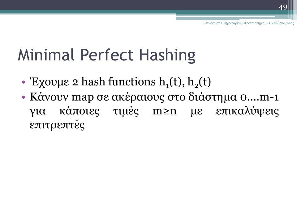 Minimal Perfect Hashing 49 Ανάκτηση Πληροφορίας - Φροντιστήριο 1 - Οκτώβριος 2009 Έχουμε 2 hash functions h 1 (t), h 2 (t) Κάνουν map σε ακέραιους στο διάστημα 0....m-1 για κάποιες τιμές m≥n με επικαλύψεις επιτρεπτές