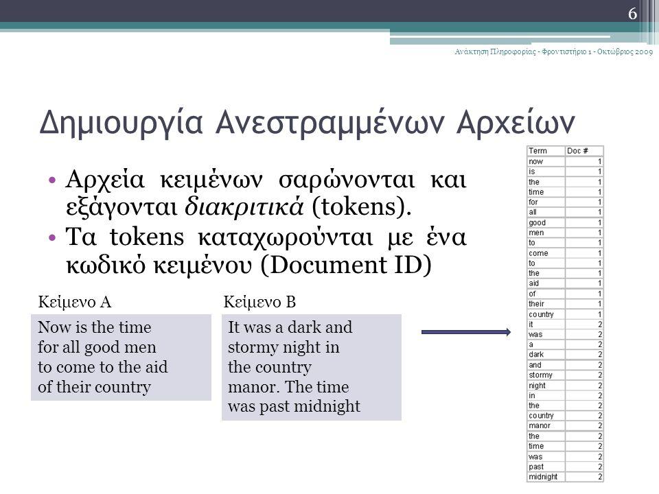Δημιουργία Ανεστραμμένων Αρχείων Αρχεία κειμένων σαρώνονται και εξάγονται διακριτικά (tokens).