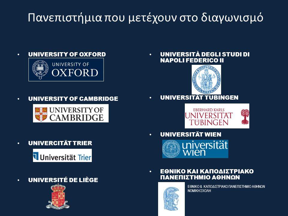 Πανεπιστήμια που μετέχουν στο διαγωνισμό UNIVERSITY OF OXFORD UNIVERSITY OF CAMBRIDGE UNIVERCITÄT TRIER UNIVERSITÉ DE LIÈGE UNIVERSITÀ DEGLI STUDI DI