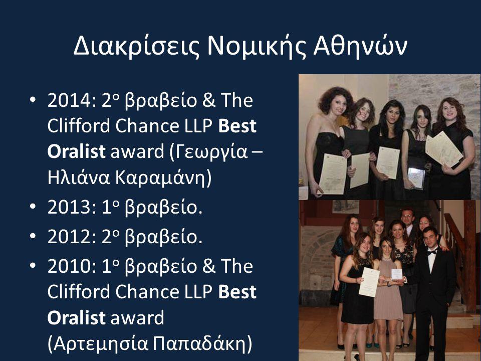 Διακρίσεις Νομικής Αθηνών 2014: 2 ο βραβείο & The Clifford Chance LLP Best Oralist award (Γεωργία – Ηλιάνα Καραμάνη) 2013: 1 ο βραβείο. 2012: 2 ο βραβ