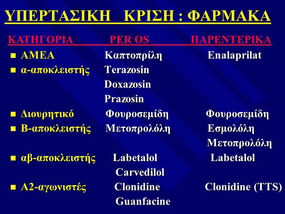 ΥΠΕΡΤΑΣΙΚΗ ΚΡΙΣΗ : ΦΑΡΜΑΚΑ n ΑΜΕΑ Καπτοπρίλη Enalaprilat n α-αποκλειστής Terazosin Doxazosin Doxazosin Prazosin Prazosin n Διουρητικό Φουροσεμίδη Φουρ