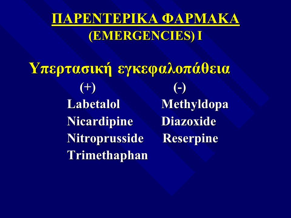 ΠΑΡΕΝΤΕΡΙΚΑ ΦΑΡΜΑΚΑ (EMERGENCIES) I Υπερτασική εγκεφαλοπάθεια Υπερτασική εγκεφαλοπάθεια (+) (-) (+) (-) Labetalol Methyldopa Labetalol Methyldopa Nica