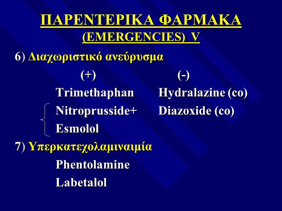 ΠΑΡΕΝΤΕΡΙΚΑ ΦΑΡΜΑΚΑ (EMERGENCIES) V 6) Διαχωριστικό ανεύρυσμα (+) (-) (+) (-) Trimethaphan Hydralazine (co) Trimethaphan Hydralazine (co) Nitroprussid