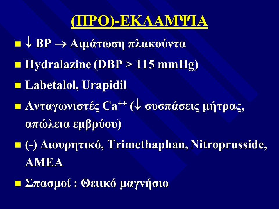 (ΠΡΟ)-ΕΚΛΑΜΨΙΑ  ΒΡ  Αιμάτωση πλακούντα  ΒΡ  Αιμάτωση πλακούντα Hydralazine (DBP > 115 mmHg) Hydralazine (DBP > 115 mmHg) Labetalol, Urapidil Labet