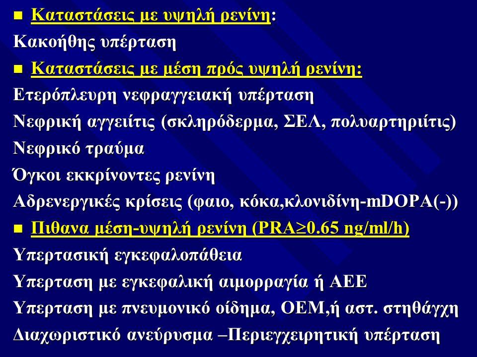 n Καταστάσεις με υψηλή ρενίνη: Κακοήθης υπέρταση n Καταστάσεις με μέση πρός υψηλή ρενίνη: Ετερόπλευρη νεφραγγειακή υπέρταση Νεφρική αγγειίτις (σκληρόδ