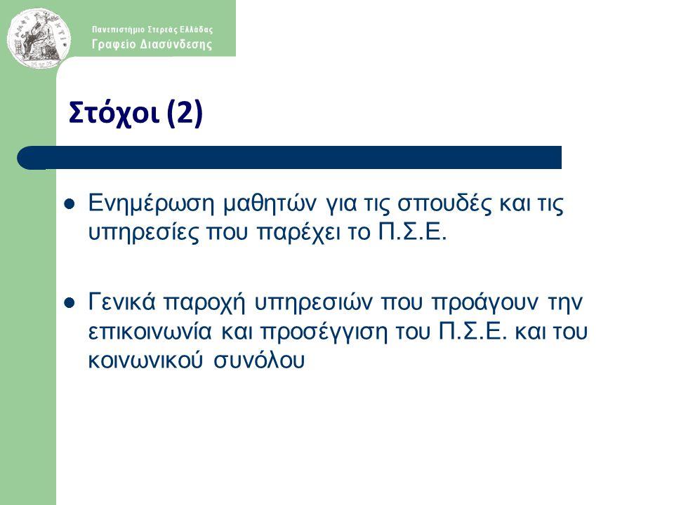 Στόχοι (2) Ενημέρωση μαθητών για τις σπουδές και τις υπηρεσίες που παρέχει το Π.Σ.Ε. Γενικά παροχή υπηρεσιών που προάγουν την επικοινωνία και προσέγγι