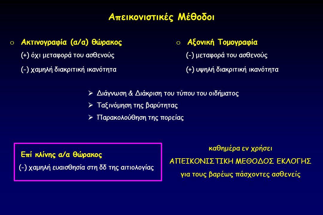 o Ακτινογραφία (α/α) θώρακος  Διάγνωση & Διάκριση του τύπου του οιδήματος  Ταξινόμηση της βαρύτητας  Παρακολούθηση της πορείας o Αξονική Τομογραφία