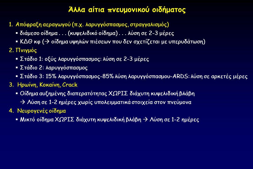 Άλλα αίτια πνευμονικού οιδήματος 1.Απόφραξη αεραγωγού (π.χ. λαρυγγόσπασμος, στραγγαλισμός)  διάμεσο οίδημα... (κυψελιδικό οίδημα)... λύση σε 2-3 μέρε