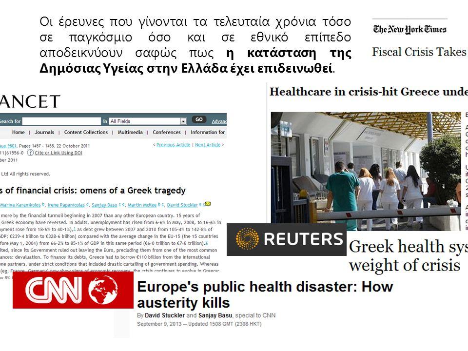 Οι επιπτώσεις της Κοινωνικής Κρίσης στην Υγεία των Ελλήνων ≈30% η ανεργία το 2013 Vs 10.1% (2005) 2.000.000 ανασφάλιστοι και άποροι χωρίς πρόσβαση σε υπηρεσίες υγείας Κατάρρευση της Πρωτοβάθμιας Περίθαλψης, συρροή στα νοσοκομεία με πολλές αρνητικές συνέπειες σε κόστη 30% ετήσια αύξηση των υπηρεσιών των «κοινωνικών ιατρείων» 50% μείωση των προγραμμάτων επανένταξης, με αποτέλεσμα την αύξηση των κρουσμάτων HIV και ραγδαία αύξηση αριθμού θανάτων από μολύνσεις και άλλες θανατηφόρες ασθένειες 3 χρόνια μείωση του προσδόκιμου ζωής