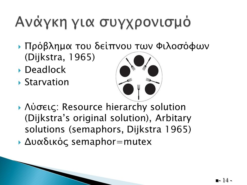  Πρόβλημα του δείπνου των Φιλοσόφων (Dijkstra, 1965)  Deadlock  Starvation  Λύσεις: Resource hierarchy solution (Dijkstra's original solution), Arbitary solutions (semaphors, Dijkstra 1965)  Δυαδικός semaphor=mutex - 14 -