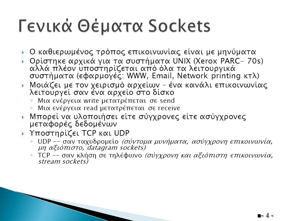  ∆ύο διεργασίες που εκτελούνται στην ίδια υπολογιστική µονάδα µπορούν να χρησιµοποιήσουν µια απλουστευµένη έκδοση των sockets, γνωστά και ως pipes ◦ Εύκολα µπορούµε να τα µετατρέψουµε σε socket που λειτουργούν σε TCP/IP δίκτυα  Το socket αποκτά την µορφή ενός εικονικού αρχείου  ΄Ενα socket name µπορεί να 'ελέγχεται' από το πολύ µια διεργασία  Μια διεργασία µπορεί να 'ελέγχει' πολλά socket names  Οι αποστολείς πρέπει να ξέρουν το όνοµα του socket στο οποίο 'ακούει' ο παραλήπτης ◦ ΄Οποια διεργασία γνωρίζει το όνοµα του socket µπορεί να στείλει µηνύµατα ◦ Συνήθως είναι γνωστό εκ των προτέρων - 5 -