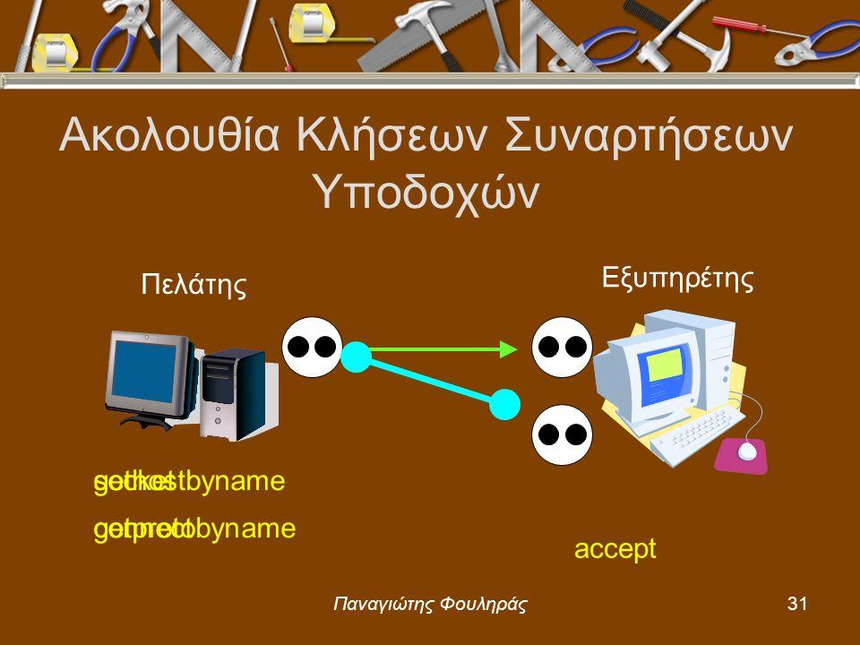 Παναγιώτης Φουληράς31 Ακολουθία Κλήσεων Συναρτήσεων Υποδοχών Πελάτης Εξυπηρέτης gethostbyname getprotobyname socket connect accept