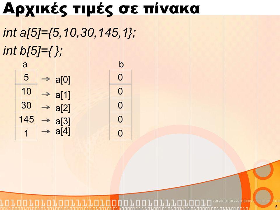 Αρχικές τιμές σε πίνακα int a[5]={5,10,30,145,1}; int b[5]={ }; 6 5 10 30 145 1 a[0] a[1] a[2] a[3] a[4] a 0 0 0 0 0 b