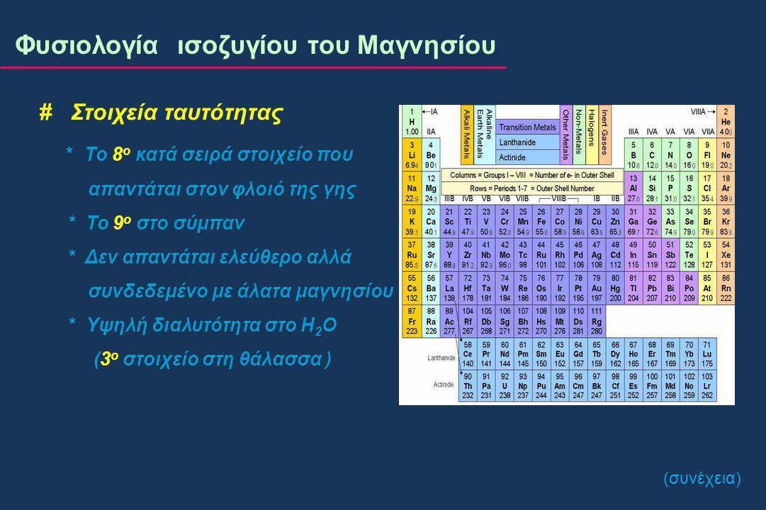 # 30% του Mg 2+ των οστών είναι το κυρίως ανταλλάξιμο μαγνήσιο του οργανισμού* ( < 15% του συνόλου ) # Προσπάθεια διατήρησης σταθερής της συγκέντρωσης του Mg 2+ του ορού # Η βιοδιαθεσιμότητα του Mg 2+ εξαρτάται από την ηλικία Φυσιολογία ισοζυγίου του Μαγνησίου Ανταλλάξιμο μαγνήσιο *Wallach S, Magnesium 1988; 7:262-270 Υπομαγνησιαιμία ≠ Μαγνησιοπενία