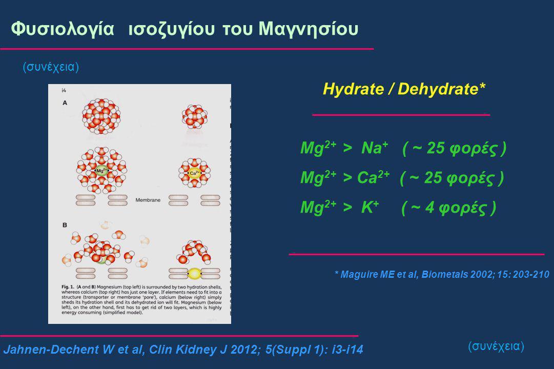 Φυσιολογία ισοζυγίου του Μαγνησίου Νεφρική αποβολή # Άπω εσπειραμένο σωληνάριο Glaudemans B et al, Kidney Int 2004; 77: 17-22 Voets T et al, J Biol Chem 2004; 279: 19-25 * Επαναρροφάται το 10% του διηθούμενου * Ενεργητική μεταφορά α.