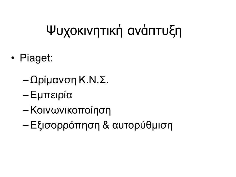 Ψυχοκινητική ανάπτυξη Piaget: –Ωρίμανση Κ.Ν.Σ. –Εμπειρία –Κοινωνικοποίηση –Εξισορρόπηση & αυτορύθμιση