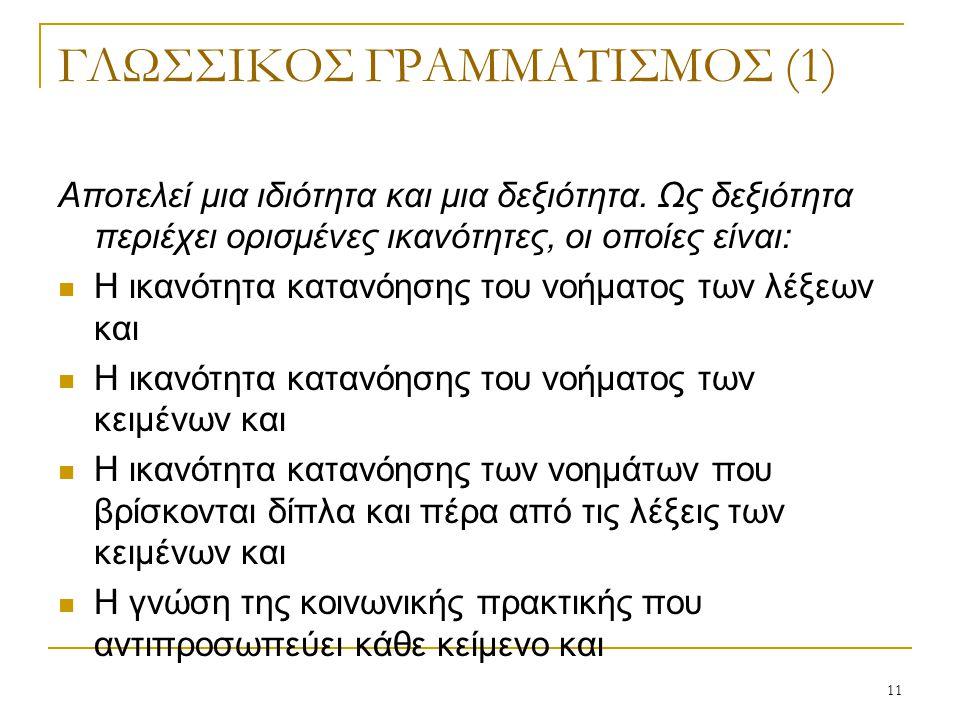 11 ΓΛΩΣΣΙΚΟΣ ΓΡΑΜΜΑΤΙΣΜΟΣ (1) Αποτελεί μια ιδιότητα και μια δεξιότητα. Ως δεξιότητα περιέχει ορισμένες ικανότητες, οι οποίες είναι: Η ικανότητα κατανό