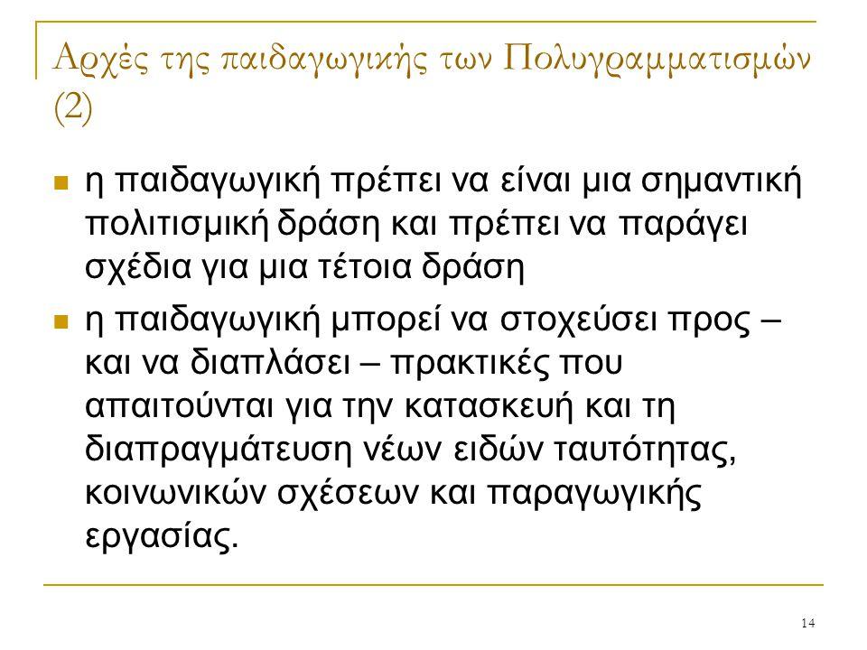 14 Αρχές της παιδαγωγικής των Πολυγραμματισμών (2) η παιδαγωγική πρέπει να είναι μια σημαντική πολιτισμική δράση και πρέπει να παράγει σχέδια για μια