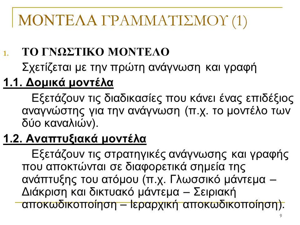 9 ΜΟΝΤΕΛΑ ΓΡΑΜΜΑΤΙΣΜΟΥ (1) 1. ΤΟ ΓΝΩΣΤΙΚΟ ΜΟΝΤΕΛΟ Σχετίζεται με την πρώτη ανάγνωση και γραφή 1.1. Δομικά μοντέλα Εξετάζουν τις διαδικασίες που κάνει έ