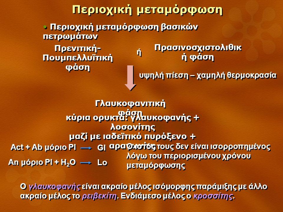 Περιοχική μεταμόρφωση Περιοχική μεταμόρφωση βασικών πετρωμάτων Γλαυκοφανιτική φάση κύρια ορυκτά: γλαυκοφανής + λοσονίτης μαζί με ιαδεϊτικό πυρόξενο + αραγωνίτη κύρια ορυκτά: γλαυκοφανής + λοσονίτης μαζί με ιαδεϊτικό πυρόξενο + αραγωνίτη Πρασινοσχιστολιθικ ή φάση Πρενιτική- Πουμπελλυϊτική φάση ή ή υψηλή πίεση – χαμηλή θερμοκρασία Act + Ab μόριο Pl Gl An μόριο Pl + H 2 O Lo Ο γλαυκοφανής είναι ακραίο μέλος ισόμορφης παράμιξης με άλλο ακραίο μέλος το ρειβεκίτη.