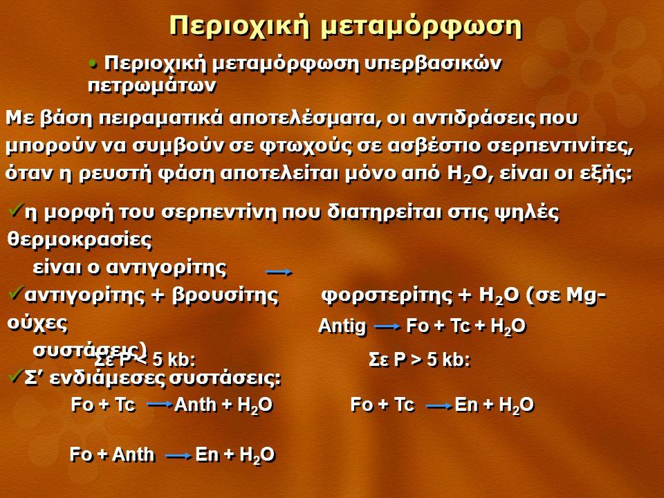 Περιοχική μεταμόρφωση Περιοχική μεταμόρφωση υπερβασικών πετρωμάτων Με βάση πειραματικά αποτελέσματα, οι αντιδράσεις που μπορούν να συμβούν σε φτωχούς σε ασβέστιο σερπεντινίτες, όταν η ρευστή φάση αποτελείται μόνο από H 2 O, είναι οι εξής: η μορφή του σερπεντίνη που διατηρείται στις ψηλές θερμοκρασίες είναι ο αντιγορίτης αντιγορίτης + βρουσίτης φορστερίτης + H 2 O (σε Mg- ούχες συστάσεις) Σ' ενδιάμεσες συστάσεις: η μορφή του σερπεντίνη που διατηρείται στις ψηλές θερμοκρασίες είναι ο αντιγορίτης αντιγορίτης + βρουσίτης φορστερίτης + H 2 O (σε Mg- ούχες συστάσεις) Σ' ενδιάμεσες συστάσεις: Antig Fo + Tc + H 2 O Fo + Tc Anth + H 2 O Fo + Anth En + H 2 O Σε P < 5 kb: Fo + Tc En + H 2 O Σε P > 5 kb: