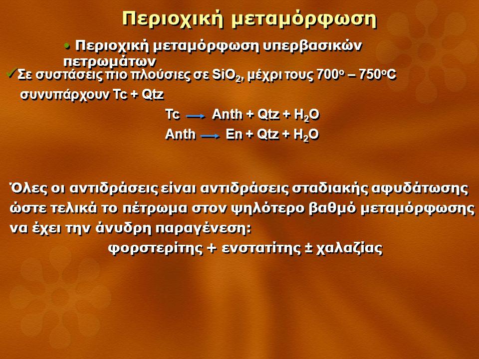 Περιοχική μεταμόρφωση Περιοχική μεταμόρφωση υπερβασικών πετρωμάτων Όλες οι αντιδράσεις είναι αντιδράσεις σταδιακής αφυδάτωσης ώστε τελικά το πέτρωμα στον ψηλότερο βαθμό μεταμόρφωσης να έχει την άνυδρη παραγένεση: φορστερίτης + ενστατίτης ± χαλαζίας Όλες οι αντιδράσεις είναι αντιδράσεις σταδιακής αφυδάτωσης ώστε τελικά το πέτρωμα στον ψηλότερο βαθμό μεταμόρφωσης να έχει την άνυδρη παραγένεση: φορστερίτης + ενστατίτης ± χαλαζίας Σε συστάσεις πιο πλούσιες σε SiO 2, μέχρι τους 700 ο – 750 ο C συνυπάρχουν Tc + Qtz Tc Anth + Qtz + H 2 O Anth En + Qtz + H 2 O Σε συστάσεις πιο πλούσιες σε SiO 2, μέχρι τους 700 ο – 750 ο C συνυπάρχουν Tc + Qtz Tc Anth + Qtz + H 2 O Anth En + Qtz + H 2 O