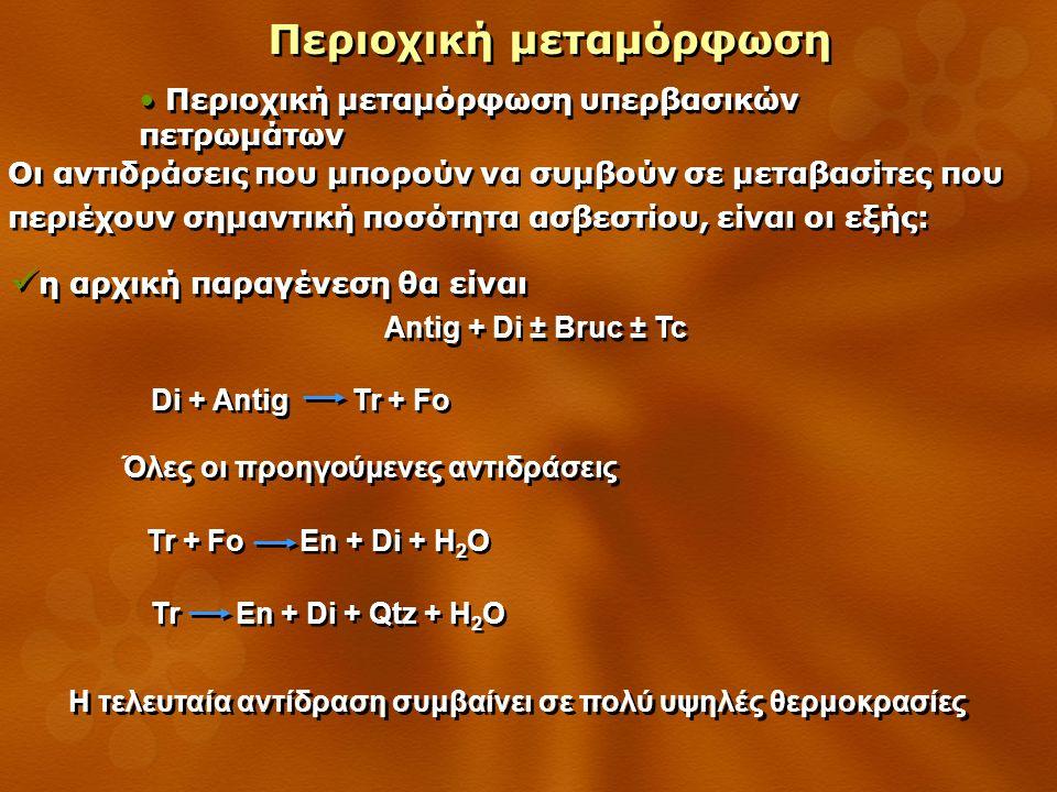 Περιοχική μεταμόρφωση Περιοχική μεταμόρφωση υπερβασικών πετρωμάτων Οι αντιδράσεις που μπορούν να συμβούν σε μεταβασίτες που περιέχουν σημαντική ποσότητα ασβεστίου, είναι οι εξής: η αρχική παραγένεση θα είναι Antig + Di ± Bruc ± Tc η αρχική παραγένεση θα είναι Antig + Di ± Bruc ± Tc Tr + Fo En + Di + H 2 O Tr En + Di + Qtz + H 2 O Di + Antig Tr + Fo Όλες οι προηγούμενες αντιδράσεις Η τελευταία αντίδραση συμβαίνει σε πολύ υψηλές θερμοκρασίες