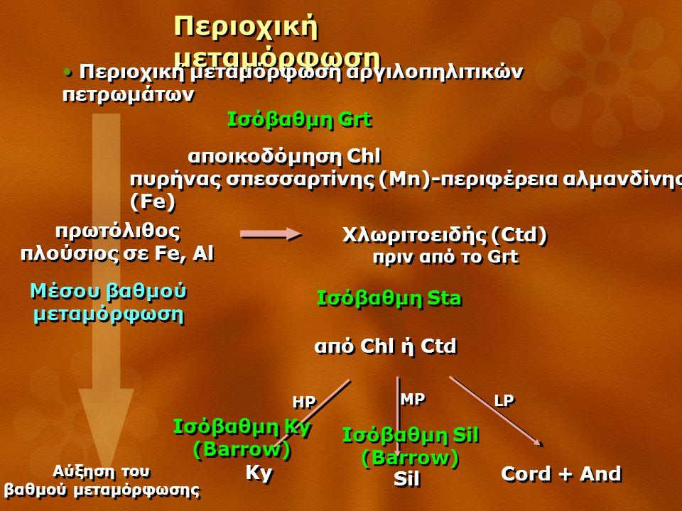 Περιοχική μεταμόρφωση Περιοχική μεταμόρφωση αργιλοπηλιτικών πετρωμάτων Ισόβαθμη Grt Αύξηση του βαθμού μεταμόρφωσης Αύξηση του βαθμού μεταμόρφωσης αποικοδόμηση Chl πυρήνας σπεσσαρτίνης (Mn)-περιφέρεια αλμανδίνης (Fe) αποικοδόμηση Chl πυρήνας σπεσσαρτίνης (Mn)-περιφέρεια αλμανδίνης (Fe) Χλωριτοειδής (Ctd) πριν από το Grt Χλωριτοειδής (Ctd) πριν από το Grt πρωτόλιθος πλούσιος σε Fe, Al πρωτόλιθος πλούσιος σε Fe, Al Ισόβαθμη Sta Μέσου βαθμού μεταμόρφωση από Chl ή Ctd Sil MP Cord + And LP Ky HP Ισόβαθμη Ky (Barrow) Ισόβαθμη Sil (Barrow)