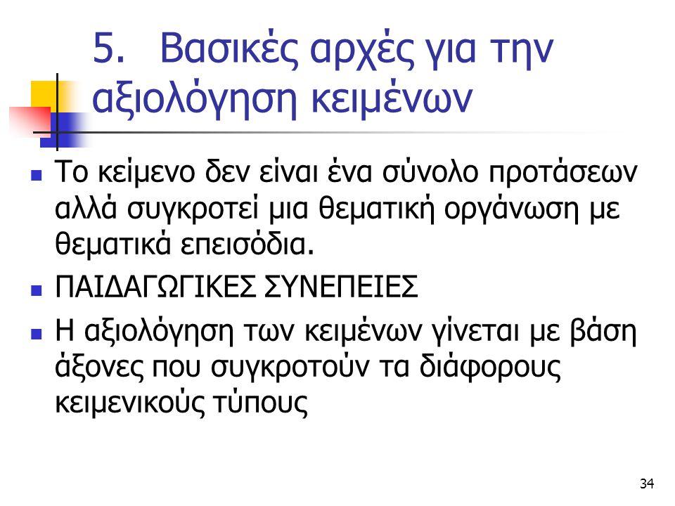 34 5.Βασικές αρχές για την αξιολόγηση κειμένων Το κείμενο δεν είναι ένα σύνολο προτάσεων αλλά συγκροτεί μια θεματική οργάνωση με θεματικά επεισόδια.