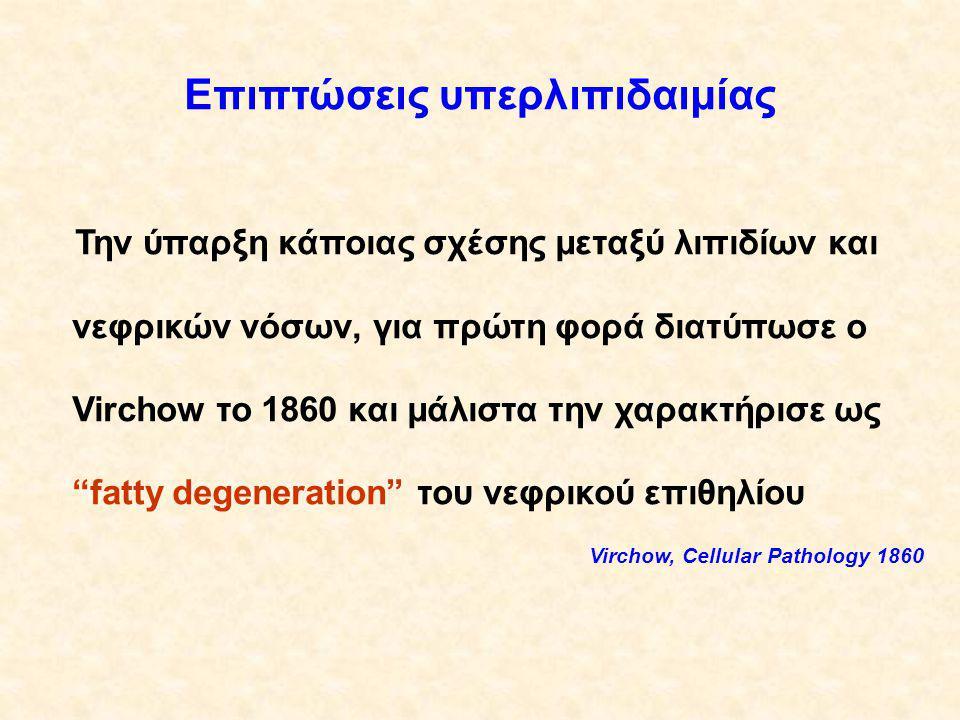 Επιπτώσεις υπερλιπιδαιμίας Την ύπαρξη κάποιας σχέσης μεταξύ λιπιδίων και νεφρικών νόσων, για πρώτη φορά διατύπωσε ο Virchow το 1860 και μάλιστα την χαρακτήρισε ως fatty degeneration του νεφρικού επιθηλίου Virchow, Cellular Pathology 1860