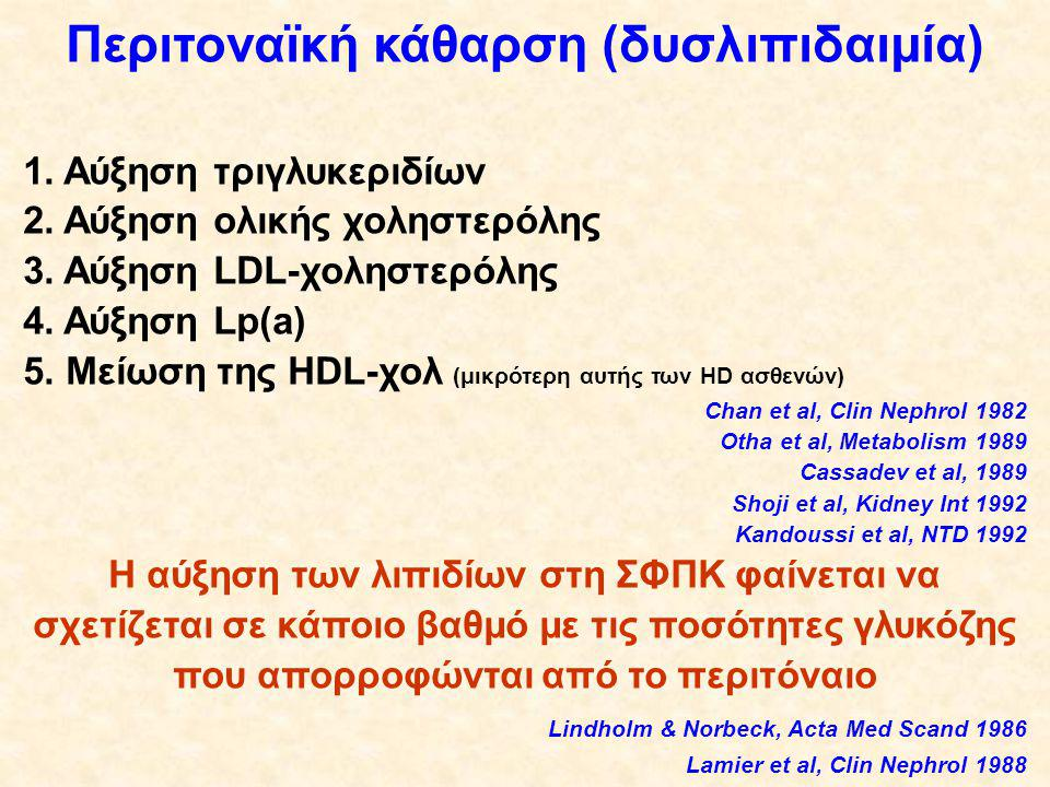 Περιτοναϊκή κάθαρση (δυσλιπιδαιμία) 1.Αύξηση τριγλυκεριδίων 2.