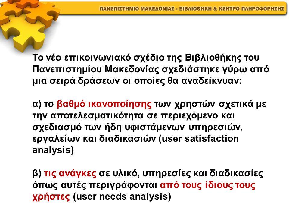 Το νέο επικοινωνιακό σχέδιο της Βιβλιοθήκης του Πανεπιστημίου Μακεδονίας σχεδιάστηκε γύρω από μια σειρά δράσεων οι οποίες θα αναδείκνυαν: α) το βαθμό ικανοποίησης των χρηστών σχετικά με την αποτελεσματικότητα σε περιεχόμενο και σχεδιασμό των ήδη υφιστάμενων υπηρεσιών, εργαλείων και διαδικασιών (user satisfaction analysis) β) τις ανάγκες σε υλικό, υπηρεσίες και διαδικασίες όπως αυτές περιγράφονται από τους ίδιους τους χρήστες (user needs analysis)