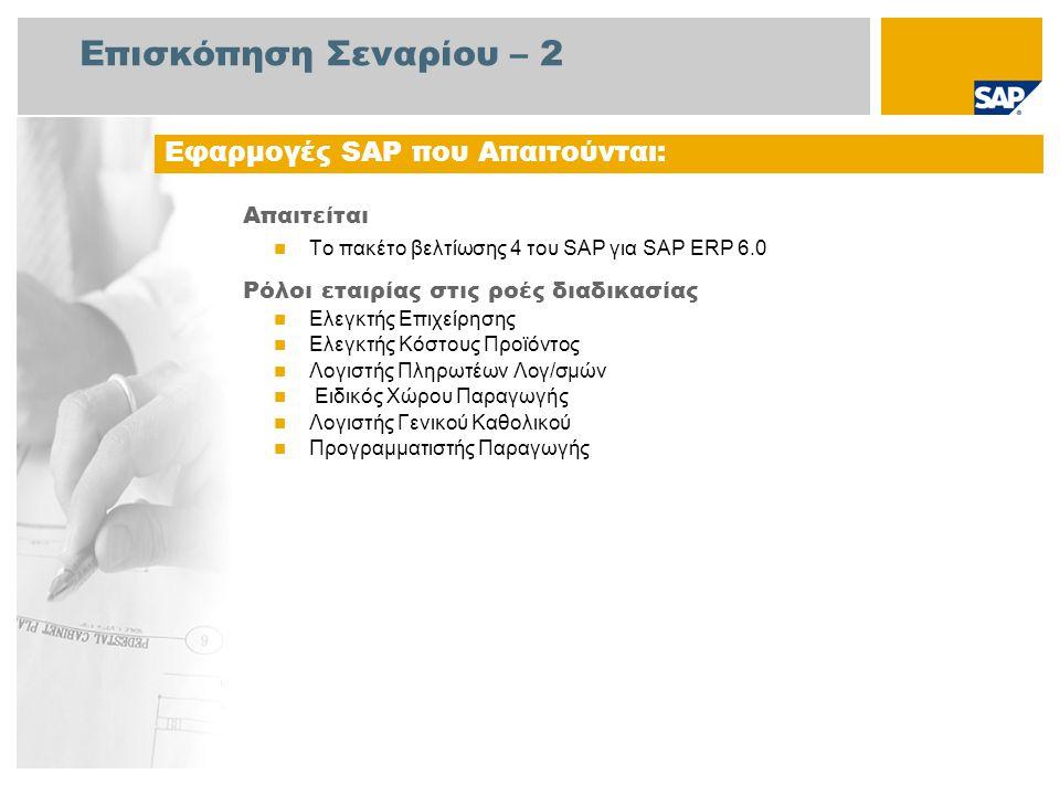 Επισκόπηση Σεναρίου – 2 Απαιτείται Το πακέτο βελτίωσης 4 του SAP για SAP ERP 6.0 Ρόλοι εταιρίας στις ροές διαδικασίας Ελεγκτής Επιχείρησης Ελεγκτής Κό