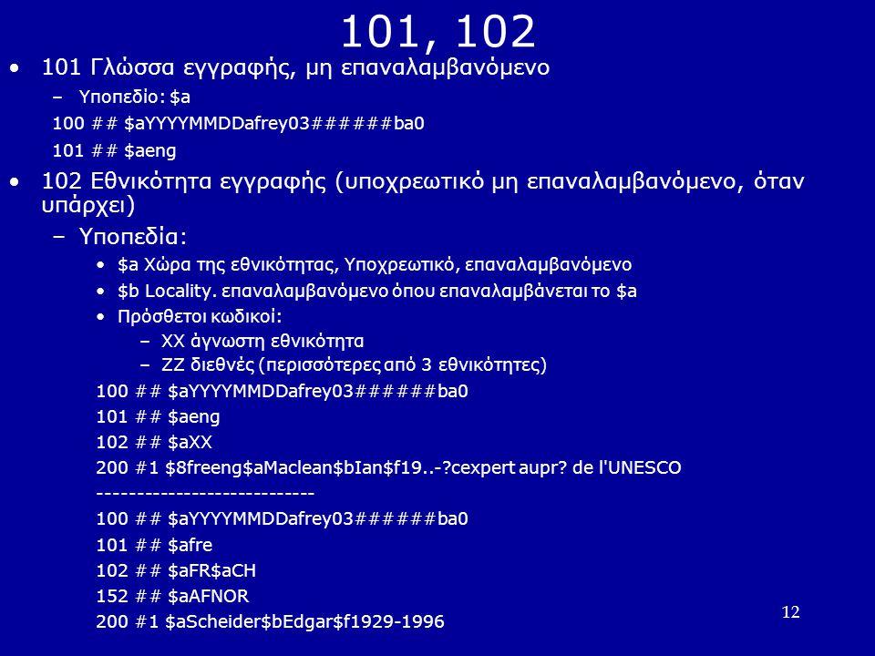 12 101, 102 101 Γλώσσα εγγραφής, μη επαναλαμβανόμενο –Υποπεδίο: $a 100 ## $aYYYYMMDDafrey03######ba0 101 ## $aeng 102 Εθνικότητα εγγραφής (υποχρεωτικό μη επαναλαμβανόμενο, όταν υπάρχει) –Υποπεδία: $a Χώρα της εθνικότητας, Υποχρεωτικό, επαναλαμβανόμενο $b Locality.