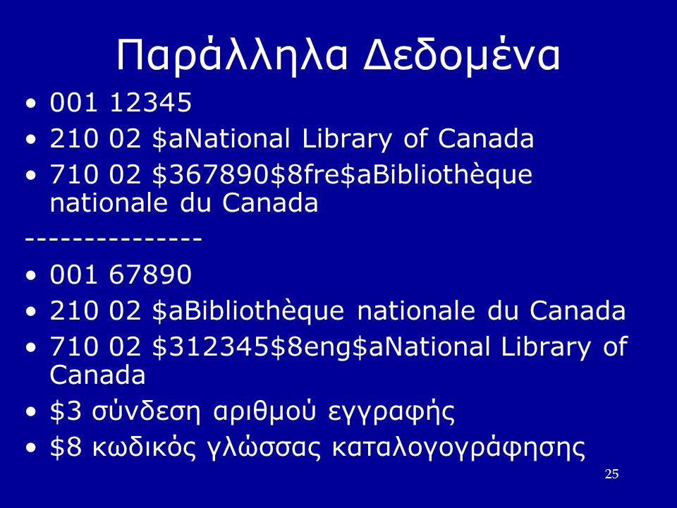 25 Παράλληλα Δεδομένα 001 12345 210 02 $aNational Library of Canada 710 02 $367890$8fre$aBibliothèque nationale du Canada --------------- 001 67890 210 02 $aBibliothèque nationale du Canada 710 02 $312345$8eng$aNational Library of Canada $3 σύνδεση αριθμού εγγραφής $8 κωδικός γλώσσας καταλογογράφησης