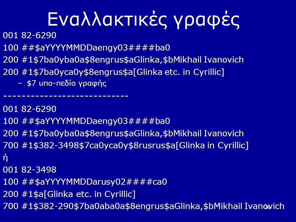 26 Εναλλακτικές γραφές 001 82-6290 100 ##$aYYYYMMDDaengy03####ba0 200 #1$7ba0yba0a$8engrus$aGlinka,$bMikhail Ivanovich 200 #1$7ba0yca0y$8engrus$a[Glinka etc.
