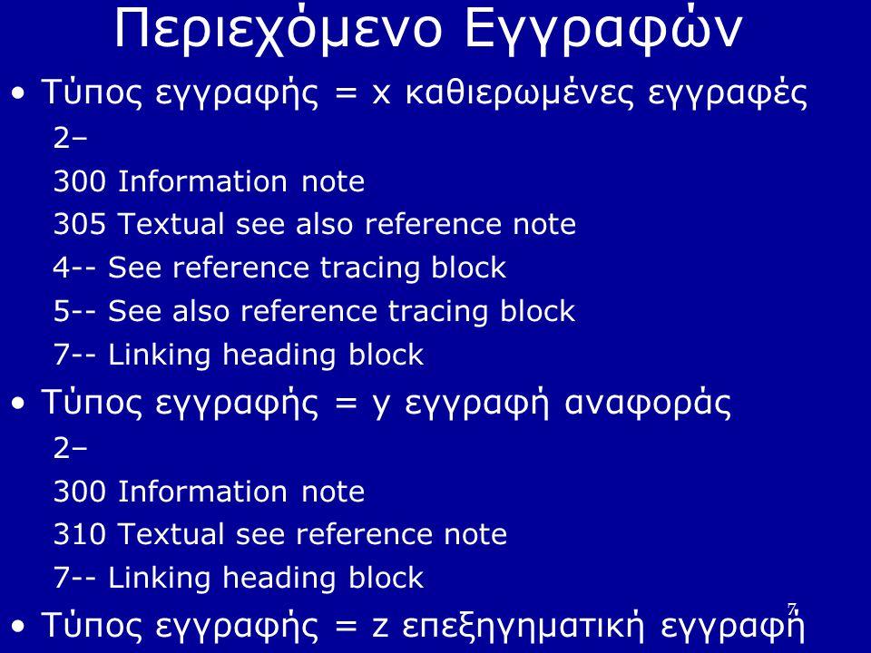 7 Περιεχόμενο Εγγραφών Τύπος εγγραφής = x καθιερωμένες εγγραφές 2– 300 Information note 305 Textual see also reference note 4-- See reference tracing block 5-- See also reference tracing block 7-- Linking heading block Τύπος εγγραφής = y εγγραφή αναφοράς 2– 300 Information note 310 Textual see reference note 7-- Linking heading block Τύπος εγγραφής = z επεξηγηματική εγγραφή