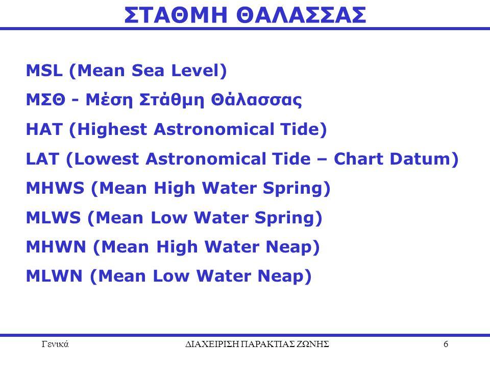 ΓενικάΔΙΑΧΕΙΡΙΣΗ ΠΑΡΑΚΤΙΑΣ ΖΩΝΗΣ6 ΣΤΑΘΜΗ ΘΑΛΑΣΣΑΣ MSL (Mean Sea Level) ΜΣΘ - Μέση Στάθμη Θάλασσας ΗΑΤ (Highest Astronomical Tide) LAT (Lowest Astronom