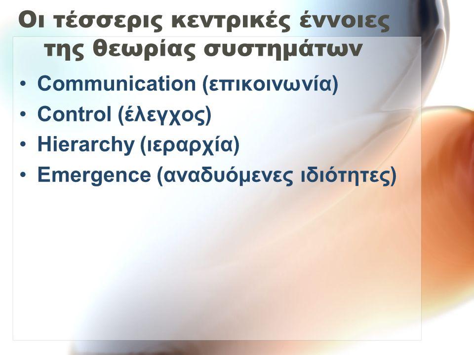 Οι τέσσερις κεντρικές έννοιες της θεωρίας συστημάτων Communication (επικοινωνία) Control (έλεγχος) Hierarchy (ιεραρχία) Emergence (αναδυόμενες ιδιότητ