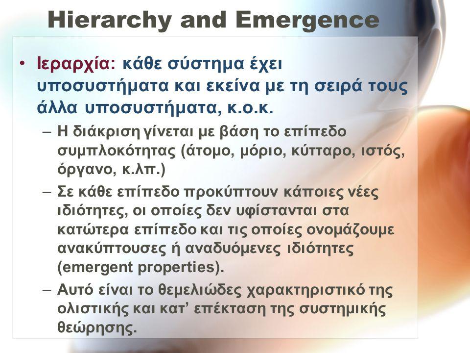 Hierarchy and Emergence Ιεραρχία: κάθε σύστημα έχει υποσυστήματα και εκείνα με τη σειρά τους άλλα υποσυστήματα, κ.ο.κ. –Η διάκριση γίνεται με βάση το