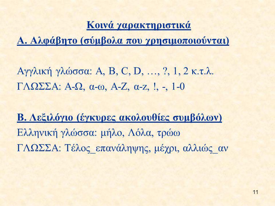 11 Κοινά χαρακτηριστικά A. Αλφάβητο (σύμβολα που χρησιμοποιούνται) Αγγλική γλώσσα: A, B, C, D, …, ?, 1, 2 κ.τ.λ. ΓΛΩΣΣΑ: Α-Ω, α-ω, Α-Ζ, α-z, !, -, 1-0