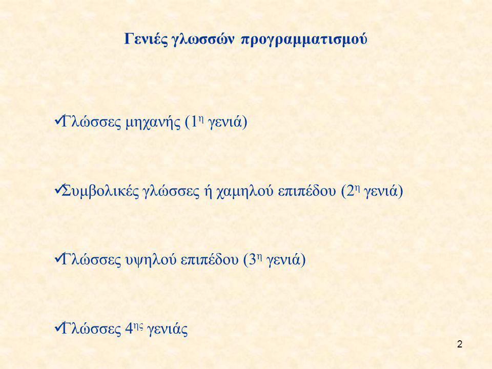 2 Γενιές γλωσσών προγραμματισμού Γλώσσες μηχανής (1 η γενιά) Συμβολικές γλώσσες ή χαμηλού επιπέδου (2 η γενιά) Γλώσσες υψηλού επιπέδου (3 η γενιά) Γλώ