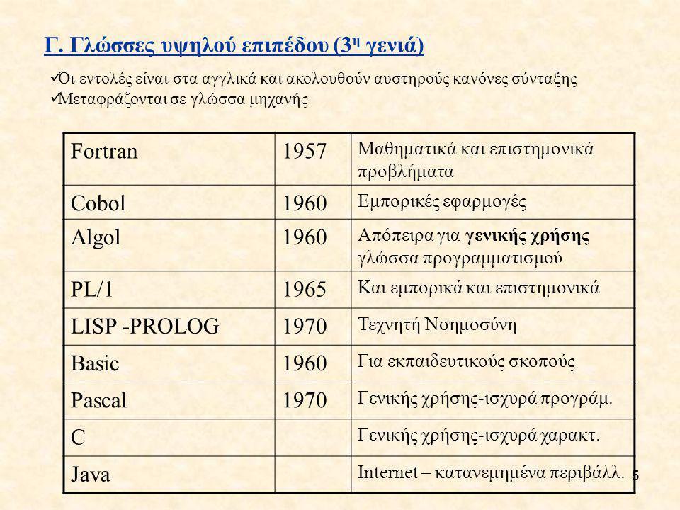 5 Γ. Γλώσσες υψηλού επιπέδου (3 η γενιά) Fortran1957 Μαθηματικά και επιστημονικά προβλήματα Cobol1960 Εμπορικές εφαρμογές Algol1960 Απόπειρα για γενικ